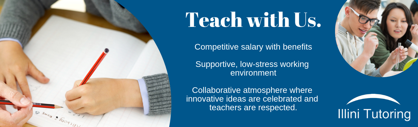 Image Text: Teach with Us. Competitive salary with benefits. Supportive, low-stress working environment. Collaborative atmosphere where innovative ideas are celebrated and teachers are respected.
